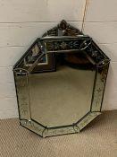 A Venetian mirror (52cm x 76 cm)