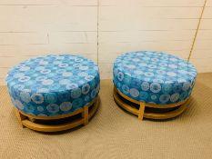 A pair of large round stools (H40cm Dia77cm)