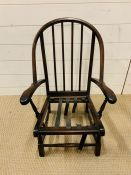 A child's Windsor chair, hoop back with spindle support (H67cm W45cm D43cm)