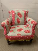 A Victorian bedroom chair with cath kidson style upholstery (H73cm W68cm)