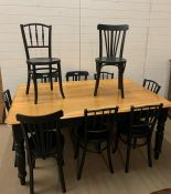 Farmhouse table with painted legs and bistro chairs (H74cm W180cm D113cm)