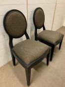 Two bedroom chairs by PIERRE CRONJE with olive green seat pads