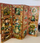 A Victorian four panel screen with vintage prints (H180cm W220cm)