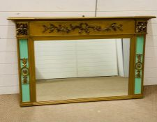An Over mantle mirror in gilt with laurel detail to top and green side panels to sides. (H 84 cm x W