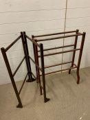 A mahogany towel rail and a mahogany clothes rail
