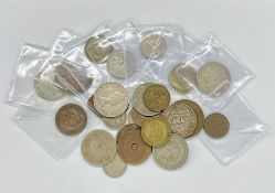 A quantity of British Colonial coins including India, Africa, Rhodesia Florins, Shilling and