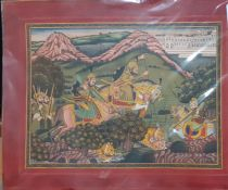 An INDIAN Mewar school miniature painting depicting a Maharajah and courtieurs hunting tigers, (29.