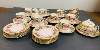 "A selection Royal Worcester ""Royal Garden"" tea cups, side plates, milk jug, sugar bowl with floral"