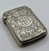 A Silver Vesta Case by Cohen & Charles, Chester hallmark for 1896.