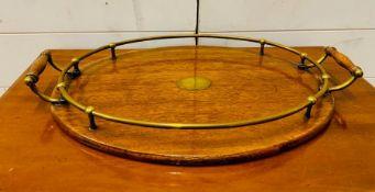A Wooden brass tray (46 cm x 30 cm)