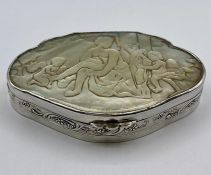 A Silver and mother of pearl pill box, indistinct hallmark, makers mark BM (Berthold Muller) 9.7