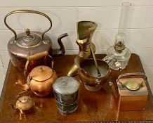 A Selection of copper and brass items.