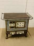 A vintage Charleville French cast iron Stove Range, tiles to sides and front (H76cm W98cm D68cm)