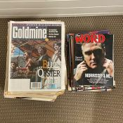 A selection of Goldmine 90's collectors newspapers along with sixteen The Word Music magazine 2008/