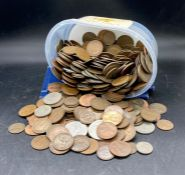 A large quantity about six kilos of British pre decimal coins, farthings to crowns