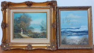 A pair of romantic paintings, signed and framed. (2)