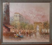 A pair of 20th century English school, 'Paris scenes', illegibly signed, oil, framed (50x60 cm