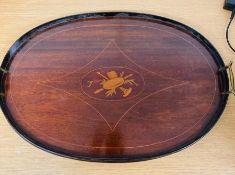 A mahogany inlaid butler tray