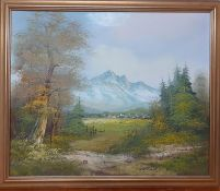 A 20th century English school, 'Landscape', illegibly signed, oil on canvas, freamed (49x60 cm).