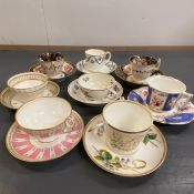 A Selection of eight duos, of tea cups and saucers.