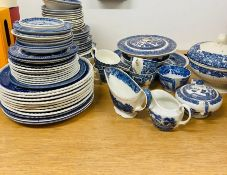 A large selection of blue and white china by various makers, Adams, Churchill England, Johnson