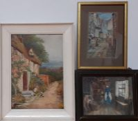 A group of three watercolours, signed, framed and glazed. (3)