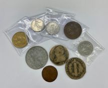 A selection of old French coins, including two 1792 2 sols coins, two 1918 silver franc coins
