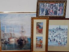 A group of four prints of famous paintings, framed and glazed. (4)