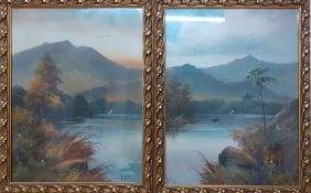 A pair of paintings depicting a landscape with a lake, signed 'R. Wilson', oil on canvas, framed and