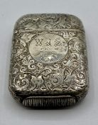 A silver vesta case by Sampson Mordan & Co, hallmarked London 1884