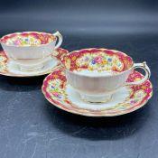 Pair of Paragon Pompadour tea cups and saucers