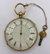 An 18ct Gold pocket watch, late 19th Century with a lever movement by J Harris and Sons of