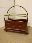 A Mahogany and brass letter rack with swag detail