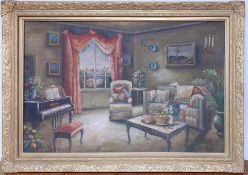 A 20th century English school, 'Interior', illegibly signed, oil on panel, framed (58x89 cm).