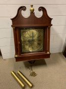 A mahogany wall/long cased clock, brass dial with Roman Numerals, marked to dial E J Goodfellow,