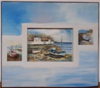 A 20th century English school, 'Coastal scenes', illegibly signed, oil on canvas and panel, framed