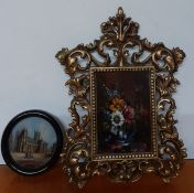 """A pair of miniatures, """"Canterbury cathedral"""" and 'Vase with flowers', signed, one in a florentine"""