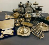 A selection of silver plate items and coffee pots
