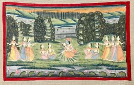 A large INDIAN silk painting depicting Krishna and gopis