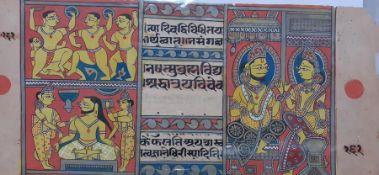 An INDIAN Jain Kalpasutra painting on a Sanscrit manuscript page, (14x31 cm). Provenance: From the