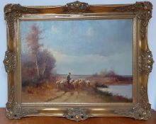 A 20th century English school, 'A herdsman with sheep', illegibly signed, oil on canvas, framed (