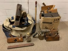 A large selection of vintage carpenters tools/plans