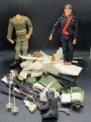 Two Action Men with an assortment of uniform