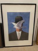 """A framed poster of """"The man with a bowler hat - Bird before Face"""" by Rene Magritte"""