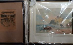 A 19th century watercolour and engraving. (2)