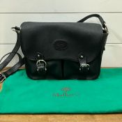 A vintage Mulberry satchel/handbag in black with two pockets to front, in clean used condition and