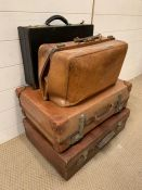 A Selection of three brown leather Vintage suitcases and a black briefcase.