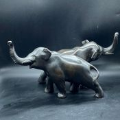 A Pair of Bronzed Elephants (18cm at highest)