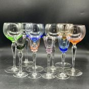 Mid Century wine and liqueur glasses with coloured bowls