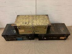 Three military metal travel trunks